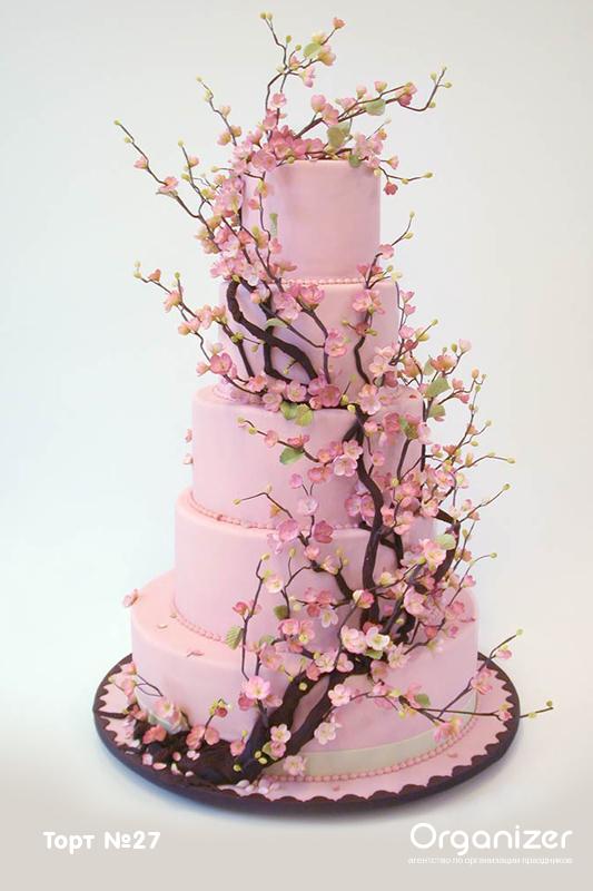 Торт из мастики сакура фото